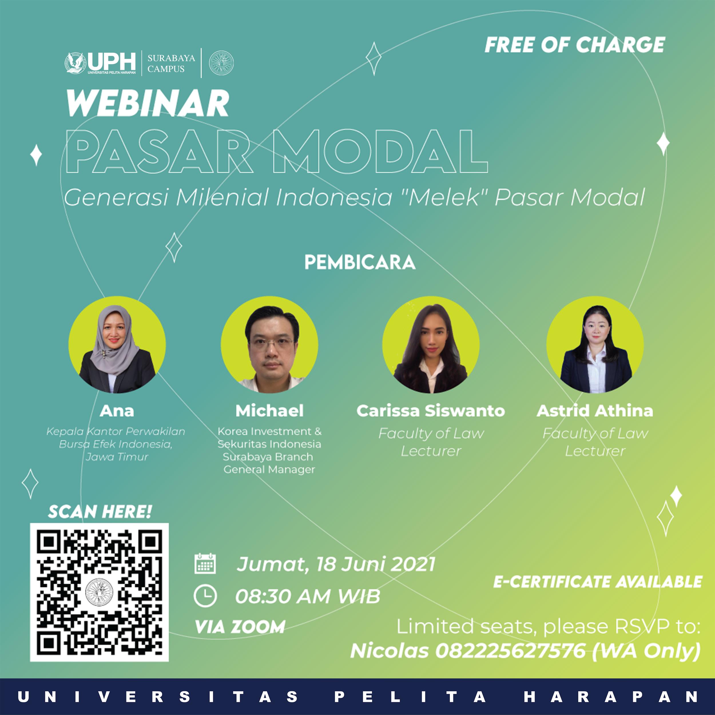 Webinar: Capital Market - Indonesia Millennial Generation Literate to Capital Market
